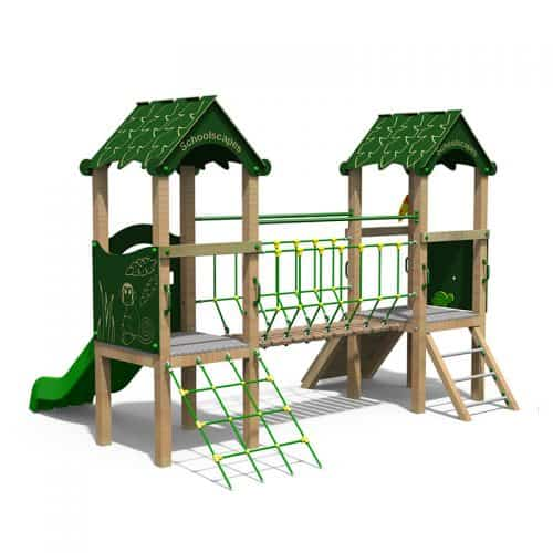 Jungle Themed Double Play Tower for Schools