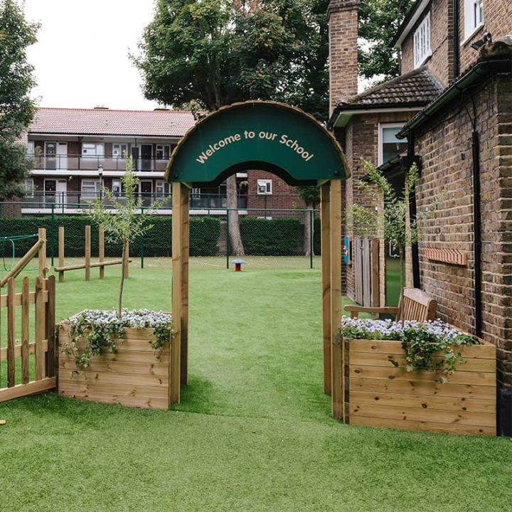 Welcome Arch with Planters