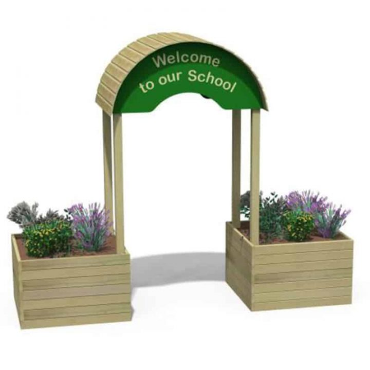 Timber Welcome Arch with Planters