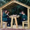 Timber Roofed Seat With Table and Bench