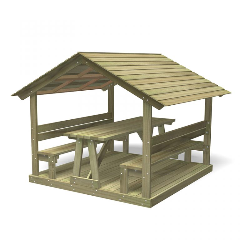 Outdoor Roofed Seat with Table and Base